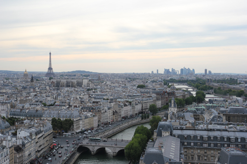 View of Paris from the bell tower at Notre Dame Cathedral - photo taken by me.